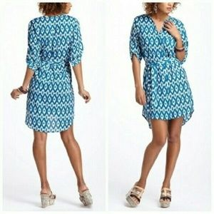 ANTHROPOLOGIE MAEVE IKAT TIE FRONT DRESS BLUE